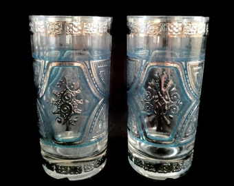 Culver Silver and Blue Highball Glasses i pair STUNNING!