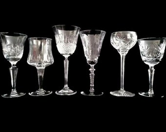 Crystal Cut Wine Glasses, Set of 6 Mismatched Fine Heavy Cut Weddings Parties