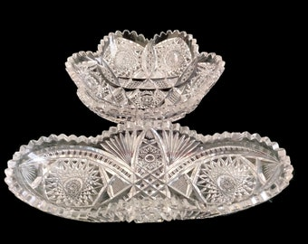 American Brilliant Period Heavy Cut Set of Unsigned Pieces Bowl and Celery