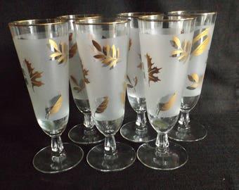 Libbey Glass Golden Foliage Pilsner Glasses Set of 6