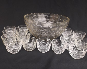 Vintage Punch Bowl and Cups by Yorktown (Colonial) by Federal Glass