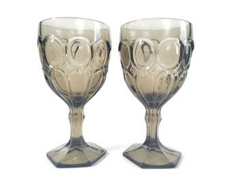 Vintage Fostoria Moonstone Taupe (Brown) Water Goblets Set of 2