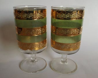 Culver Starlyte Set of Two Mid Century Modern Glasses, Green, Gold, Vintage,