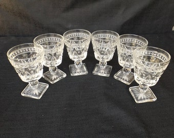 Park Lane by Colony Pressed Glass Cordial Arch and Dot Design, Set of Six Wine