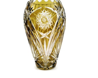 Chartreuse Cut To Clear Stunning 8 inch Vase RARE COLOR!