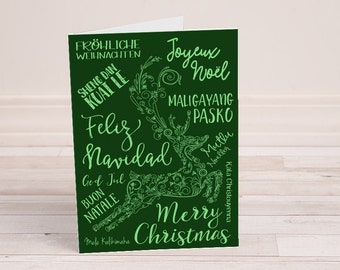 picture relating to Merry Christmas in Different Languages Printable known as Merry Xmas Alternate Languages Xmas Near the Etsy