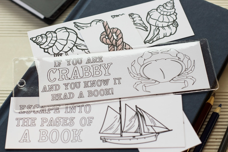 Nautical Adult Coloring Bookmarks  Beach Themed  Crab image 0