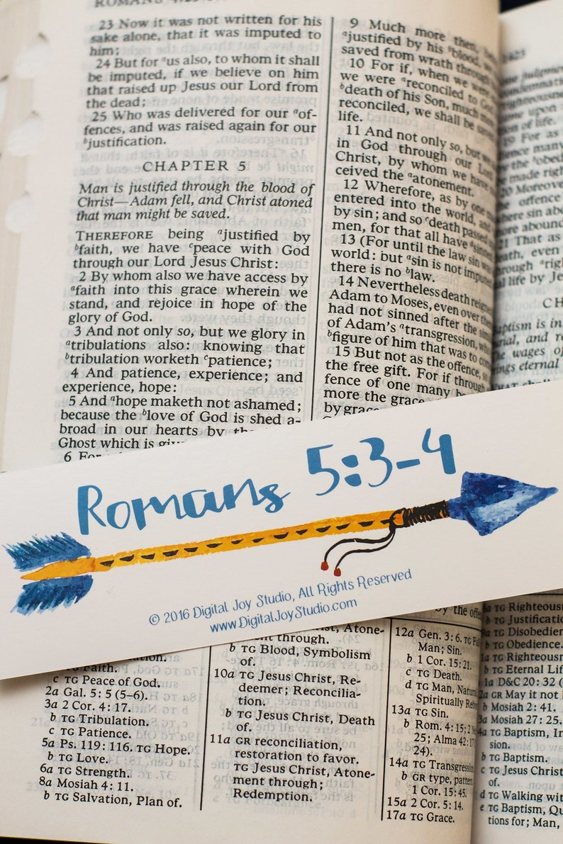 Arrow Bookmarks  Romans Bookmark  Encouragement Gift  Hope image 0