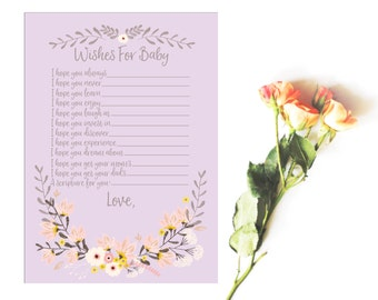 Wishes For Baby - Baby Shower Activity - Lavender Floral Baby Shower - Baby Shower Wishes - Baby Shower Printables - Baby Shower Cards
