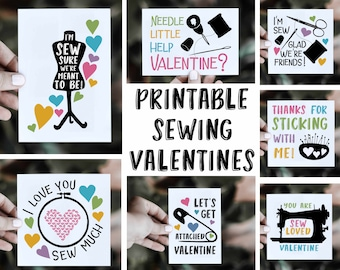 Sewing Valentine Pack - Printable Sewing Valentines - Digital Download - PNG and PDF - Set of 14 Printable Sewing Themed Valentines