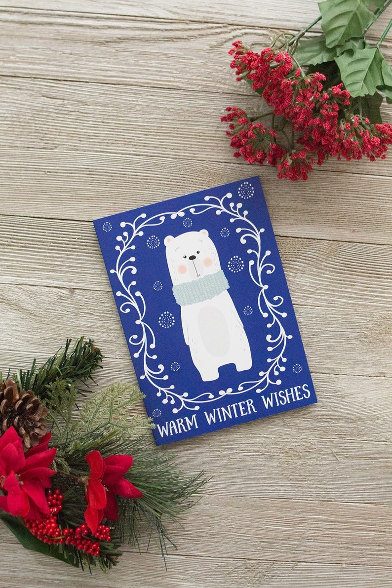 Set of Polar Bear Greeting Cards  Winter Polar Bear  image 0