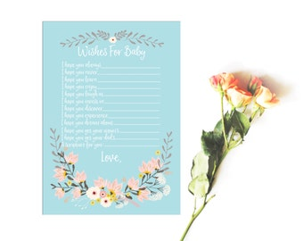 Wishes For Baby - Baby Shower Activity - Baby Blue Floral Baby Shower - Baby Shower Wishes - Baby Shower Printables - Baby Shower Cards