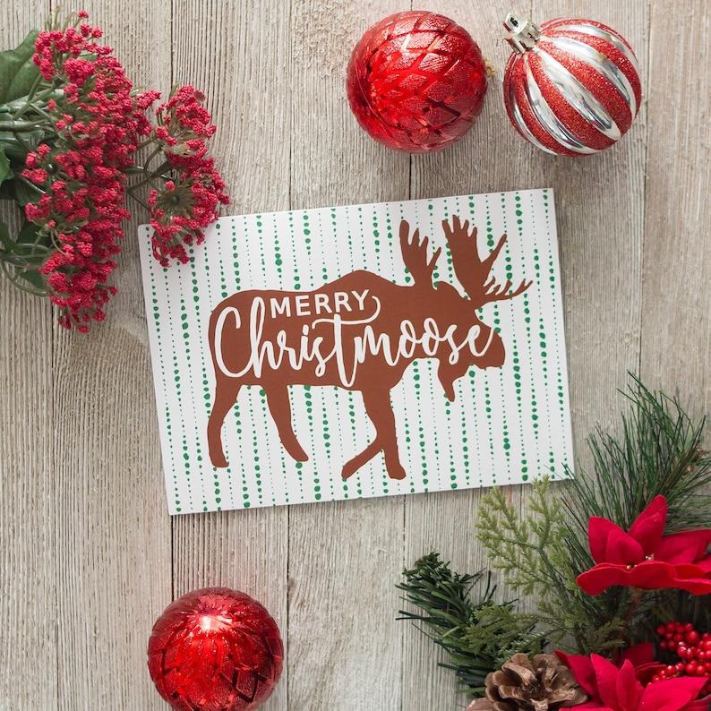 Merry Christmoose  Moose Christmas Card  Woodland Christmas image 0