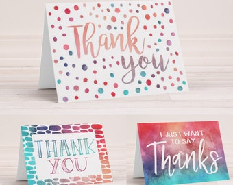 Thank You Notes - Watercolor Thank You Cards - Set of 3 Printable Cards - Blank Inside - Folding Cards - Thank You Gift - Instant Download