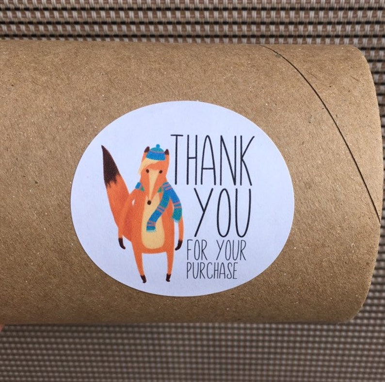 Fox Package Stickers  Thank You Stickers  Happy Mail image 0