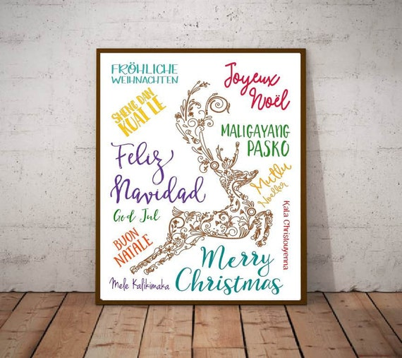Merry Christmas Different Languages.Merry Christmas Different Languages Christmas Around The World Reindeer Christmas Decor Merry Christmas Poster Holiday Home Decor