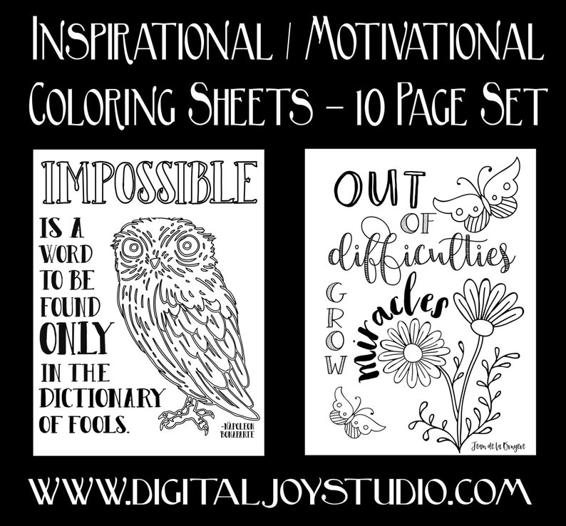 Motivational Printable Coloring Book - Inspirational Quotes - Nature  Coloring - Gifts for Students - Entrepreneur Gifts - 10 Pages