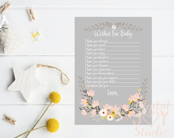 Wishes For Baby - Baby Shower Activity - Grey Floral Baby Shower - Baby Shower Wishes - Baby Shower Printables - Baby Shower Cards