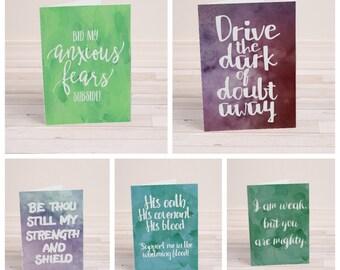 Encouragement Cards - Set of 5 - Printable Cards - Christian Printables - Folding Cards - Christian Cards - Quote Cards - Instant Download