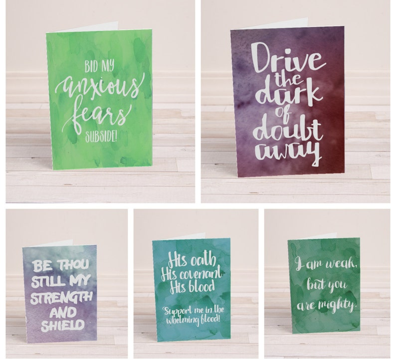 Encouragement Cards  Set of 5  Printable Cards  Christian image 0
