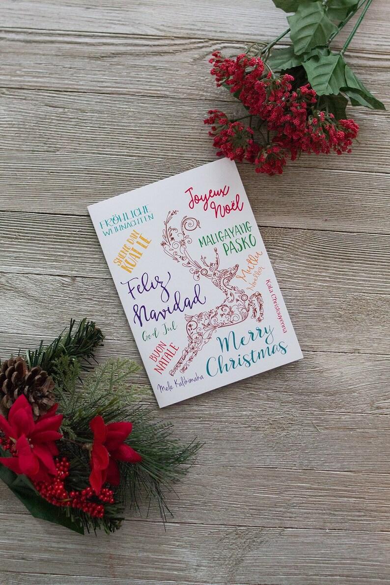 Christmas Around the World  Printable Christmas Card  Merry image 0