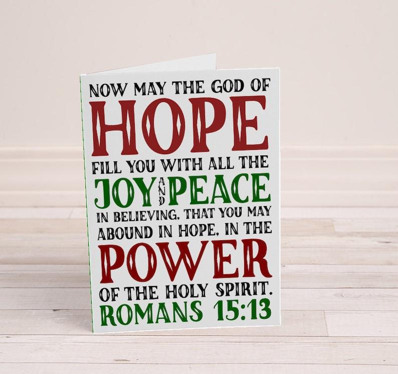 Printable Christmas Card  Romans 15:13  Hope Joy Peace Power image 0