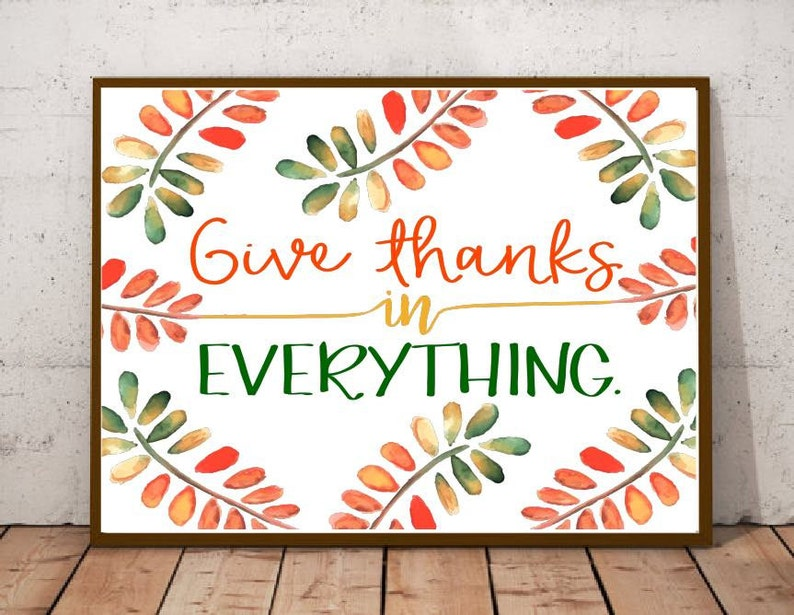 Autumn Fall Wall Art  Thanksgiving Printable  Give Thanks in image 0