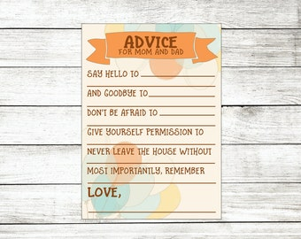 Gender Neutral Baby Shower Activities - Advice for Mom and Dad - Baby Shower Printables - Baby Shower Games - Baby Shower Boy or Girl