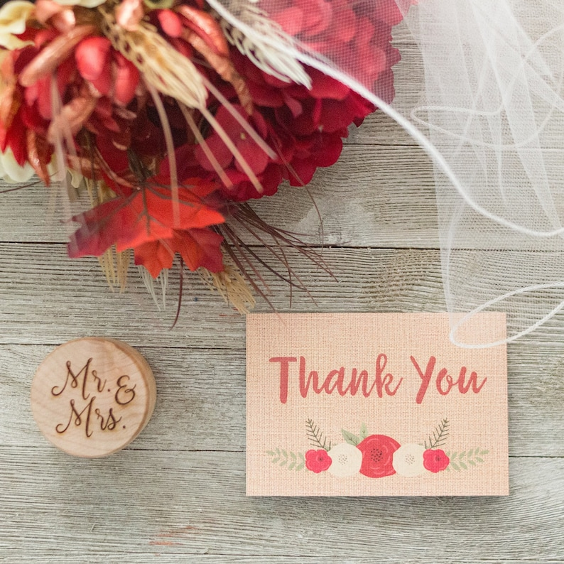 Rustic Notecards  Burlap and Floral  Fall and Winter Wedding image 0