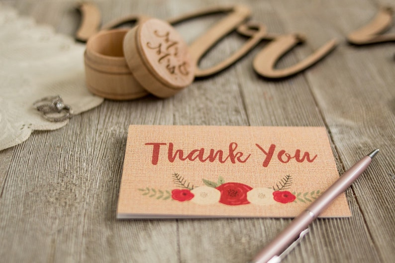 Rustic Burlap Floral Thank You Notes  6 Cards With Envelopes image 0