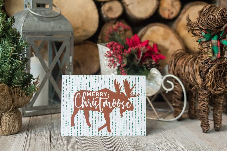 6 Moose Cards  Merry Christmoose  Woodland Christmas Card  image 0
