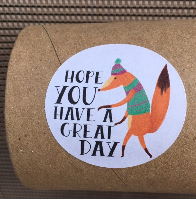 Fox Package Stickers  Have a Great Day  Happy Mail Stickers image 0