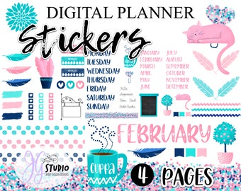 Digital Planner Stickers Teal Designer Collection Bundle Assorted 4