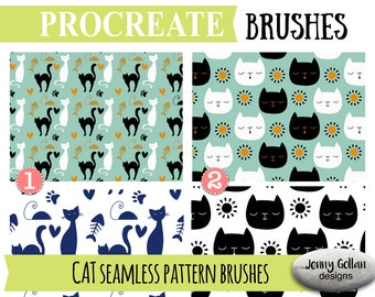 Procreate Brushes Repeating Cat Patterns Seamless Pattern Brushes for the Procreate app  on the iPad
