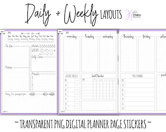 Digital Planner Stickers Daily and Weekly Page Layouts Transparent png Hand Drawn Page templates for Goodnotes
