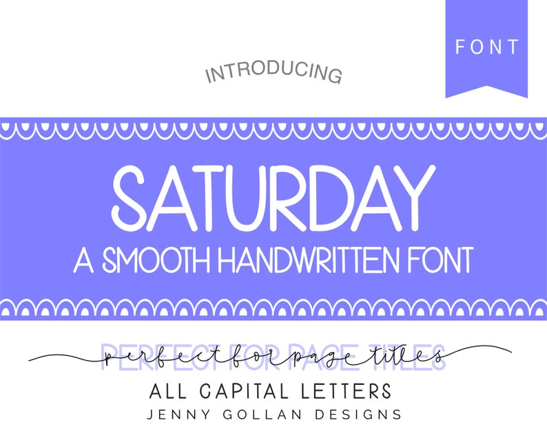 Hand Lettered Font Saturday for iPad Tablet and Computer Digital Planner  Typeface Goodnotes