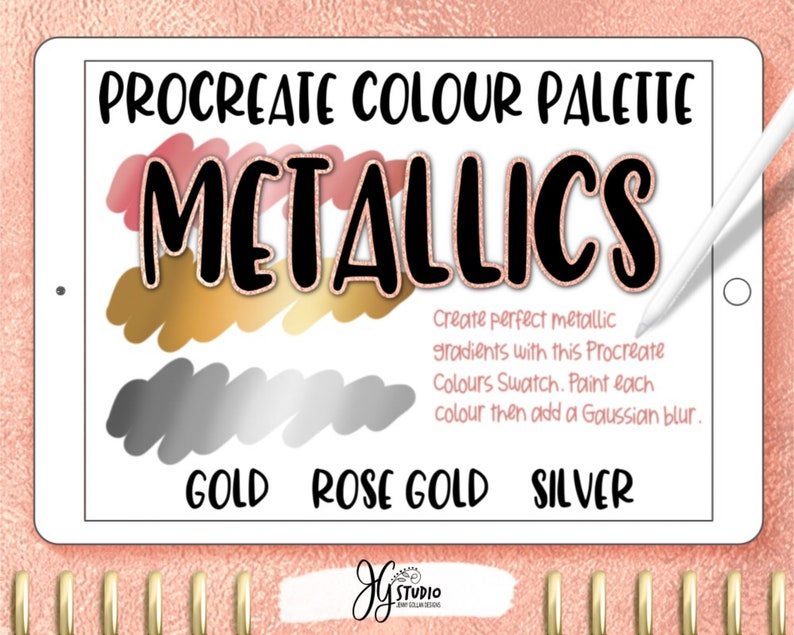 Procreate Colour Palette Gold Silver Rose Gold Metallic image 0