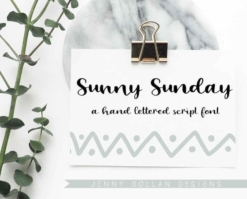 Hand Lettered Script Font Sunny Sunday with All Numbers and Punctuation