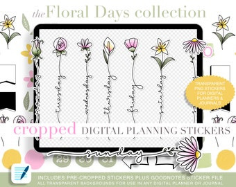 64 Cropped Floral Days Collection Digital Planner Stickers PNG with Transparent Backgrounds and Goodnotes Sticker File Included