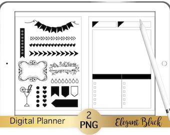 2 Digital Planner Stickers Pages Elegant Black  transparent pngs