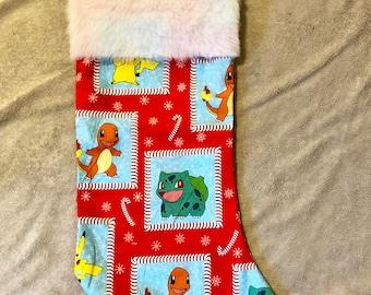 Pokemon candy cane christmas stocking • pokemon go • christmas decor • holiday decor • pikachu • bulbasaur • charmander • squirtle • candy •