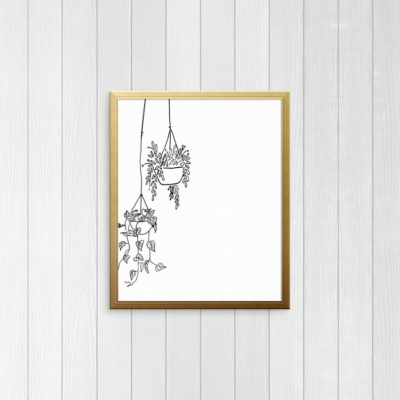 Black and White Hanging Plants Printable  Instant Digital image 0