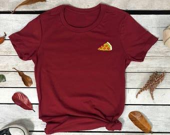 Pizza Emoji Embroidered Women's Short Sleeve Crew neck T Shirt, Embroidered Tee , Pizza T-shirt, Pizza Lover  Embroidered T-Shirt
