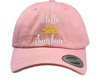 HELLO SUNSHINE Dad Hat Yupoong Classic Baseball Cap, Cursive Embroidered Low Profile Curved Bill, Many Colors