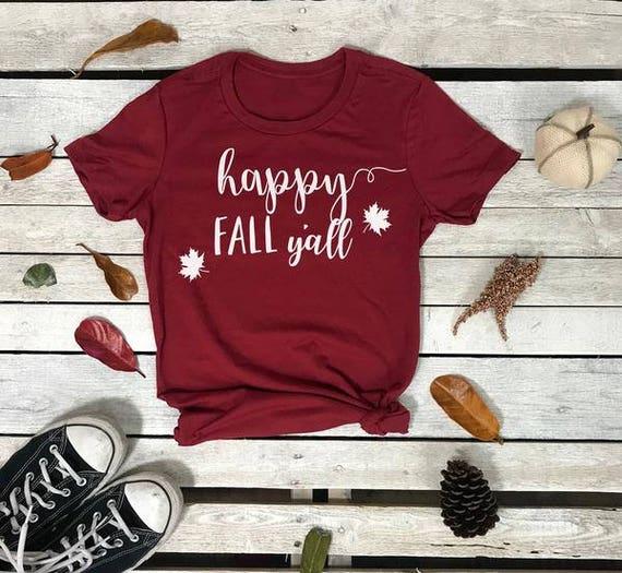 Happy Fall Ya'll Autumn Leaves Women's Short Sleeve Crewneck T Shirt