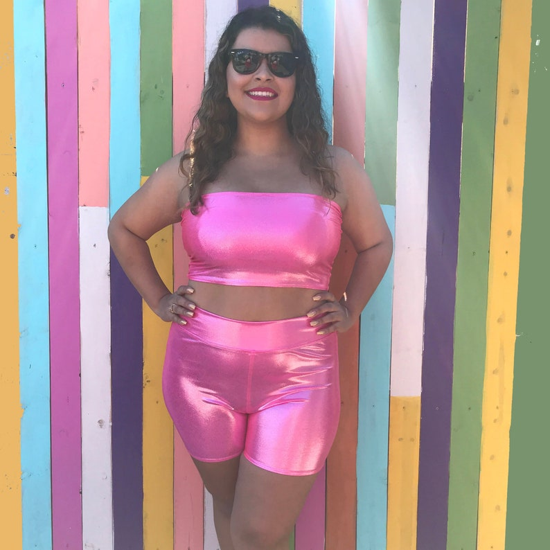 565fe58702b Pink High Waist Shorts Festival Tube Top Festival Clothing