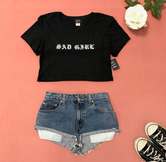 Underboob Tee Sad Girl Party Outfits Tumblr Shirt Goth  Etsy-8829