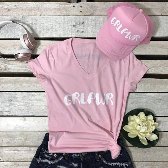 GRLPWR Women's Short Sleeve Vinyl Print Girl Power Feminist Female Power Empowerment V-Neck T Shirt