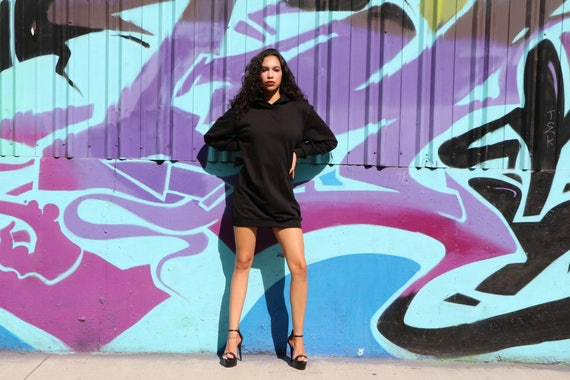 Sia Hooded Sweatshirt Dress, Loose Fit, Woman's Pull over oversized hoodie sweater, Black Sweater Dress ,  Black