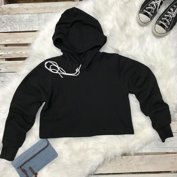 Noir pull Cropped Sweat femmes Sweat à cadeau capuche Sweatshirt recadrée cadeau à pour Hoodies Sexy pull Cropped Sweatshirt ses femmes 71565b